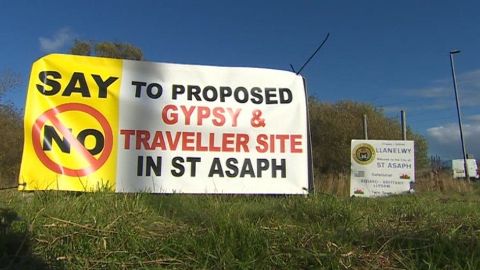 Photo of protest sign against Gypsy and Traveller site in St Asaph