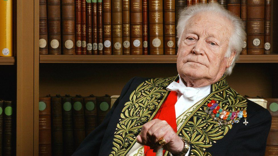French writer and former minister Maurice Druon poses at the French Institute library in Paris 02 April 2004.