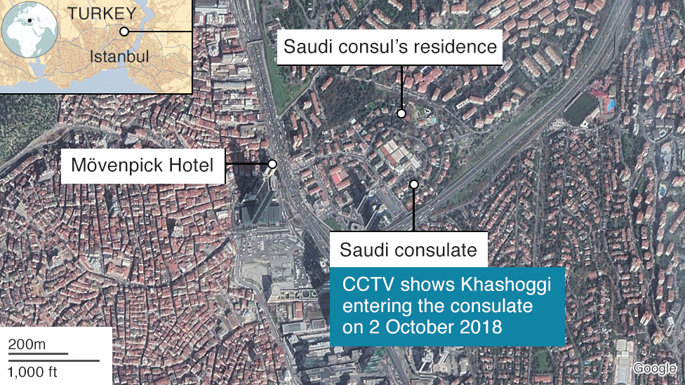 Map of area around Saudi consulate in Istanbul