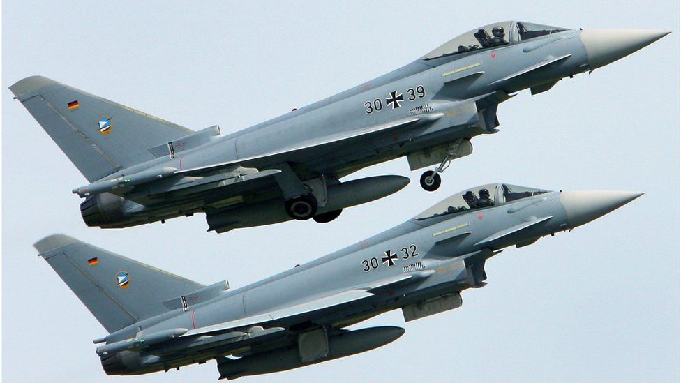 File picture of two Eurofighter jets of the German Air Force taking off from the air base in Rostock-Laage, northeastern Germany