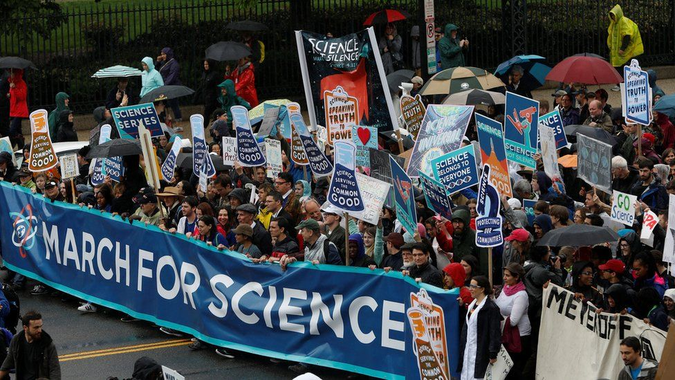 March for Science demonstrators rally in Washington DC, 22 April 2017