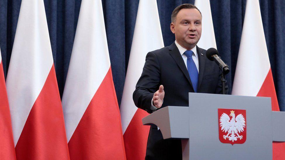"Poland""s President Andrzej Duda speaks during his media announcement on 6 February"