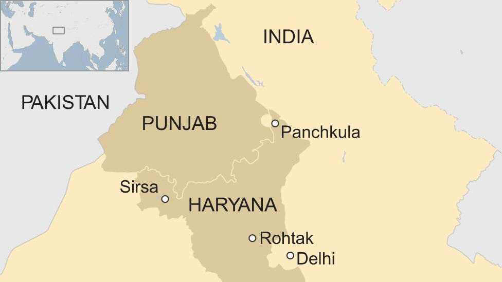 A BBC map showing Sirsa and Rohtak in Haryana