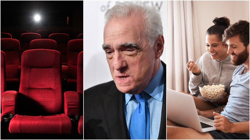 Cinema seat, Martine Scorsese and a couple watching a film on a laptop