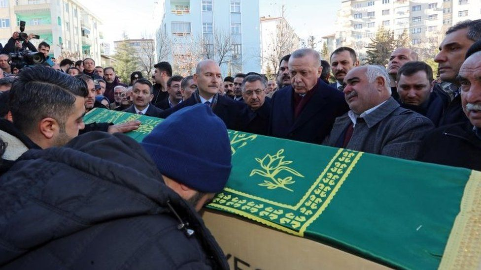 Turkish President Recep Tayyip Erdogan (centre-right) attends the funeral of some of the victims in Elazig. Photo: 25 January 2020