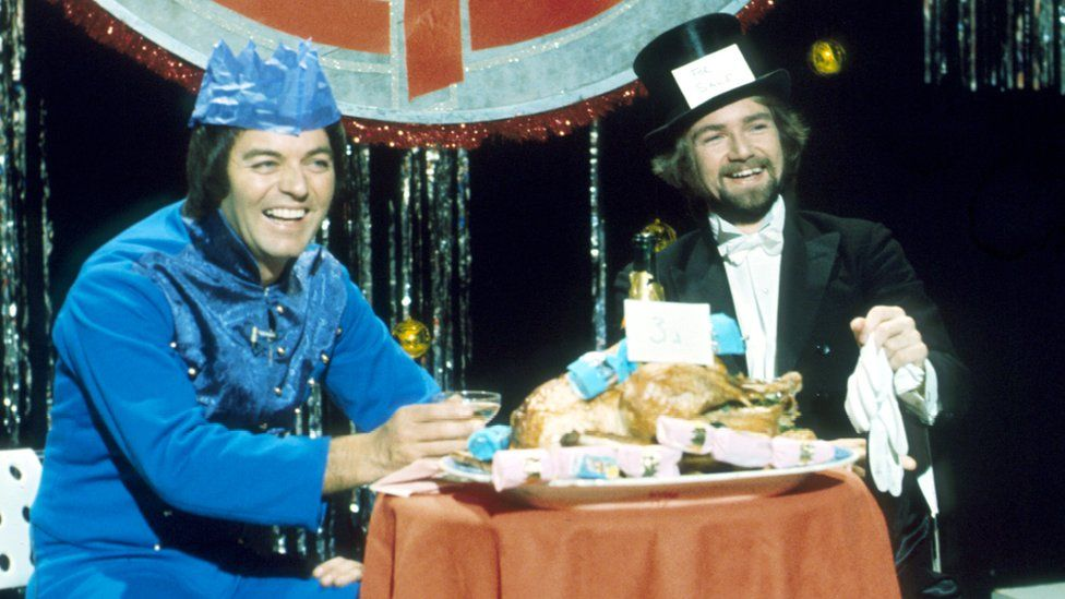 Tony Blackburn and Noel Edmunds on the 1976 Top of the Pops Christmas special