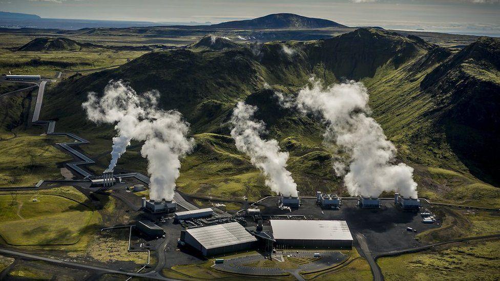 Hellisheidi power plant, air view