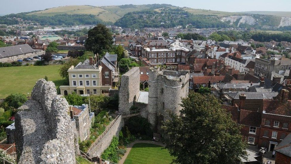 View over Lewes Castle and the town of Lewes