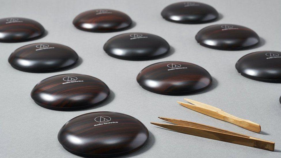 Wooden casing for Audio Technica headphones
