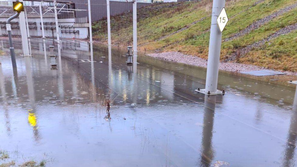 Flooded tram line