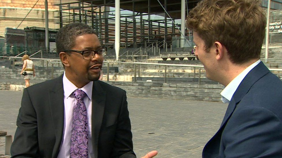 Vaughan Gething and BBC Wales political reporter James Williams