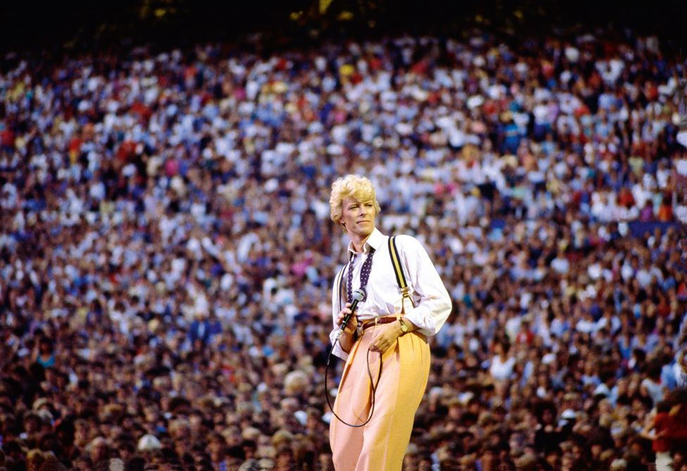 David Bowie performing in Edmonton stadium, Canada.