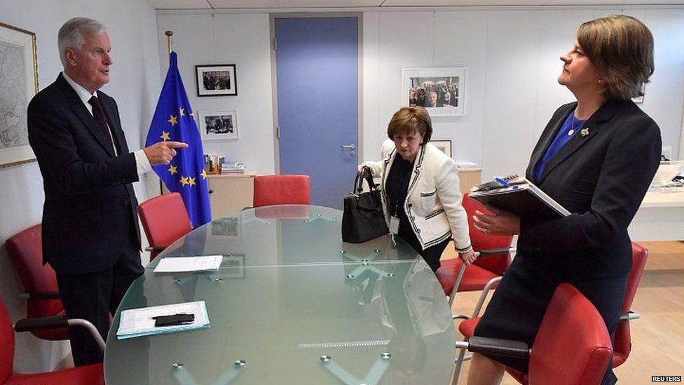 Michel Barnier and Arlene Foster