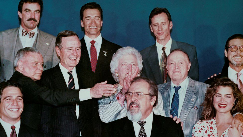Barbara Bush gestures during a photo shoot with celebrities at a party in Los Angeles, California, in this undated photo.