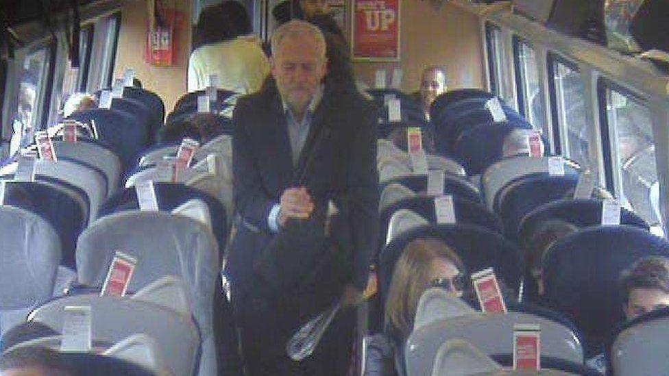 Jeremy Corbyn on board a train