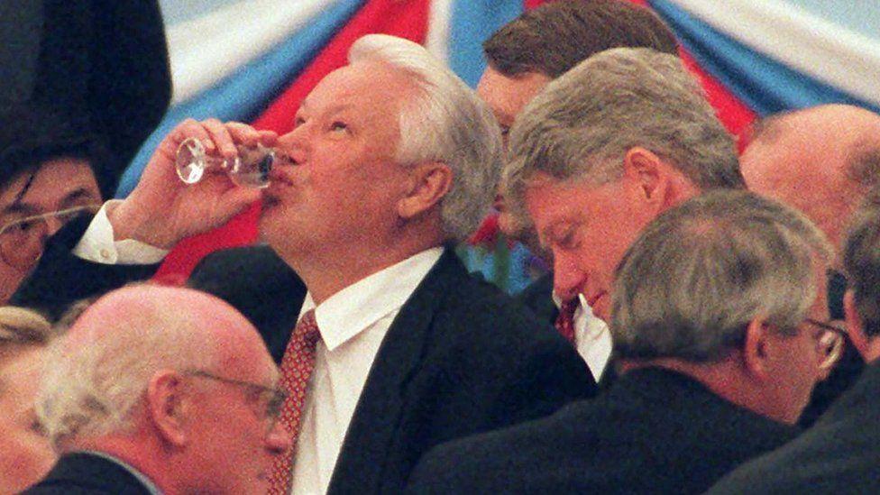 Boris Yeltsin with Bill Clinton and John Major