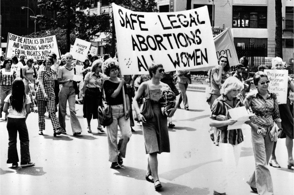 Campaigners marching in New York to demand safe legal abortions for all women in 1977