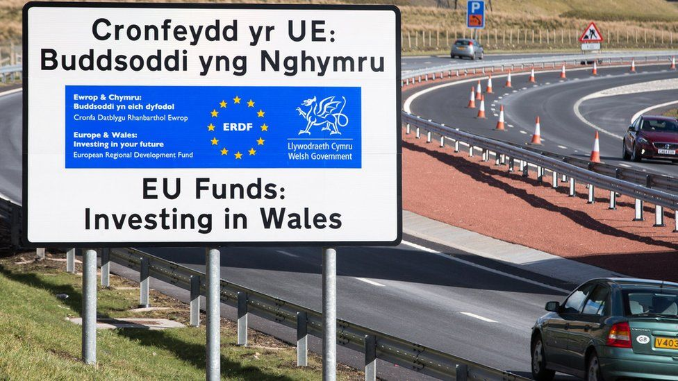 An EU sign on the the Heads of the Valleys road
