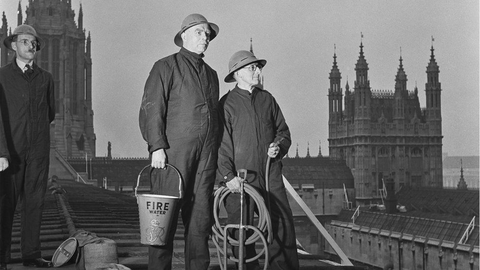Fire watchers on Parliament's roof