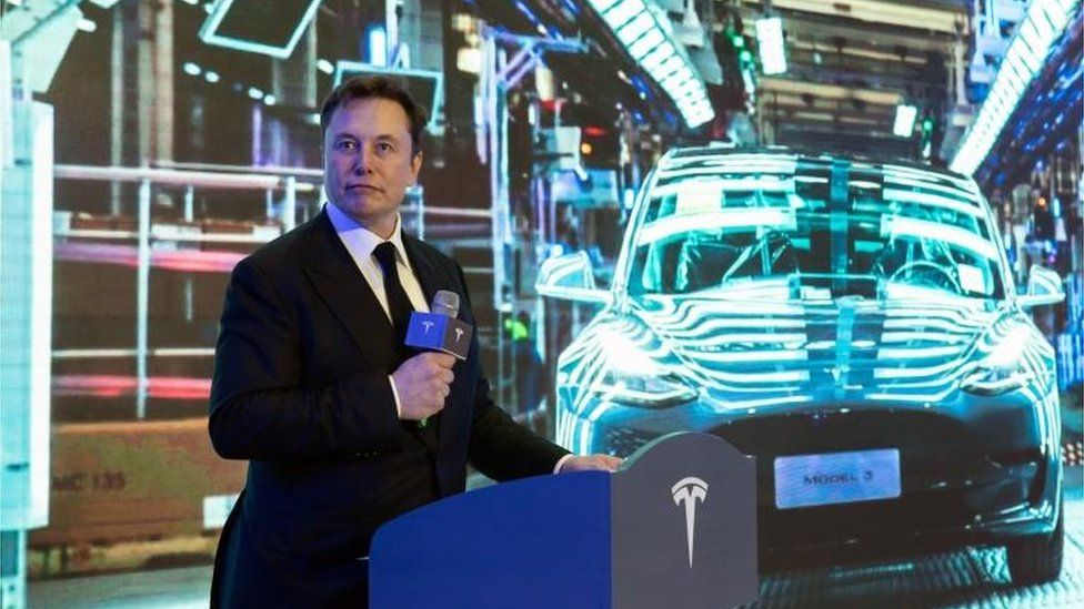 Tesla chief Elon Musk at the delivery ceremony of the first batch of Shanghai made Tesla Model 3 cars