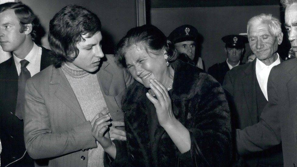 Maria Minichiello cries outside court in 1971