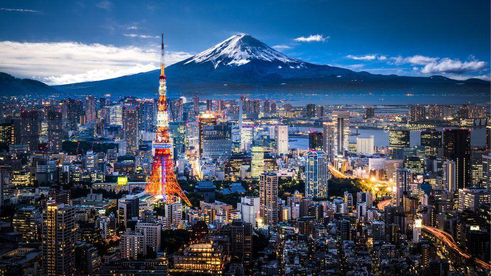 Mount Fuji behind Tokyo skyline