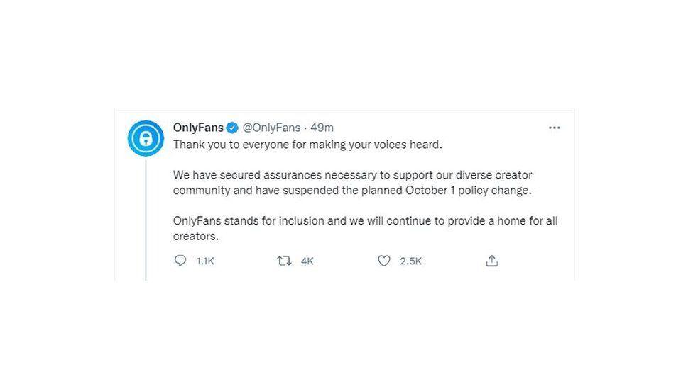 OnlyFans tweet