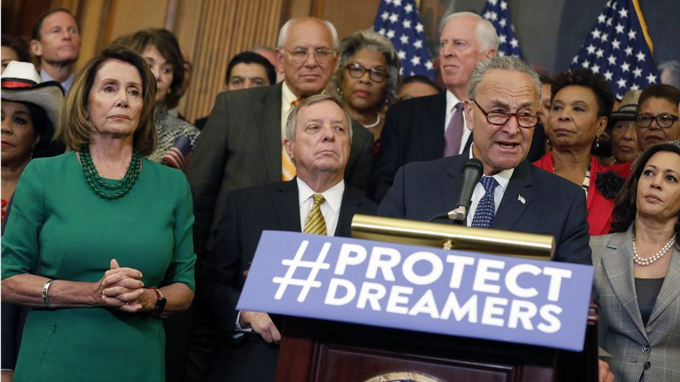Senate Minority Leader Chuck Schumer speaks at a news conference following US President Donald Trump's decision to end the Deferred Action for Childhood Arrivals (Daca) programme, 6 September 2017