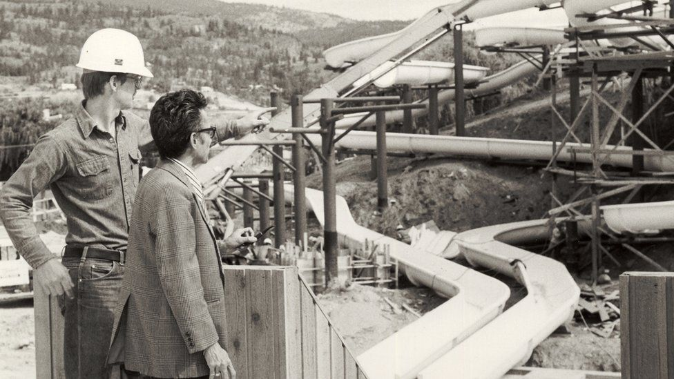 Geoff in 1981 with engineer, Hector Negac at the WhiteWater Waterpark in Penticton, British Columbia