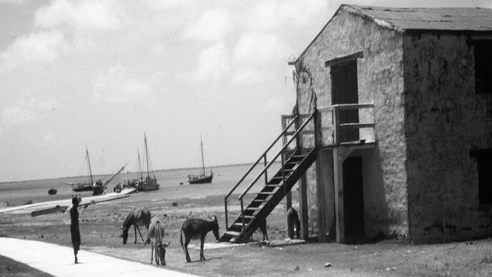 A century old sugar factory by the seaside, with donkeys on the outside whilst a lady looks on