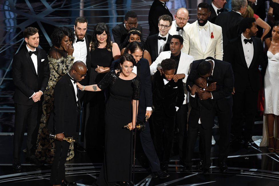 Cast and crew of Moonlight accept the Best Picture award