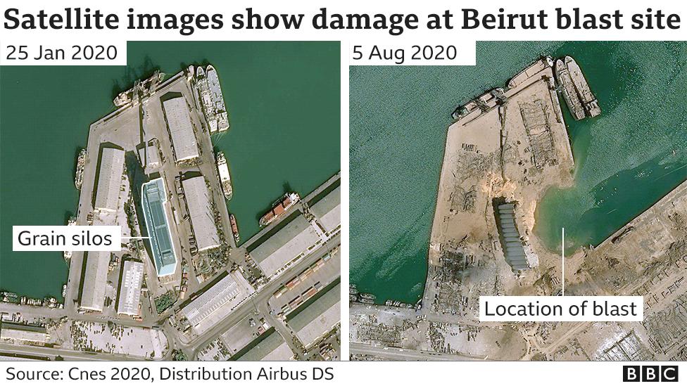 Satellite image of blast site