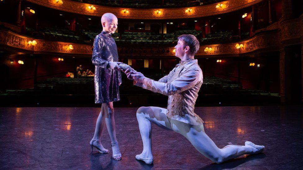 Lily Douglas with Scottish Ballet Principal dancer Christopher Harrison at Theatre Royal Glasgow. Credit Sally Jubb..jpg