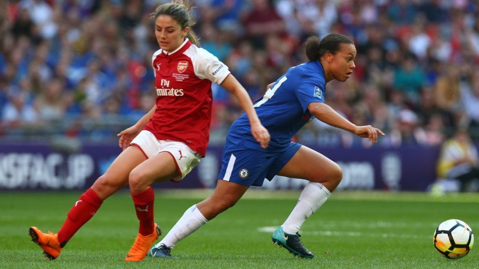 Action from Chelsea v Arsenal in the Women's FA Cup Final 2018