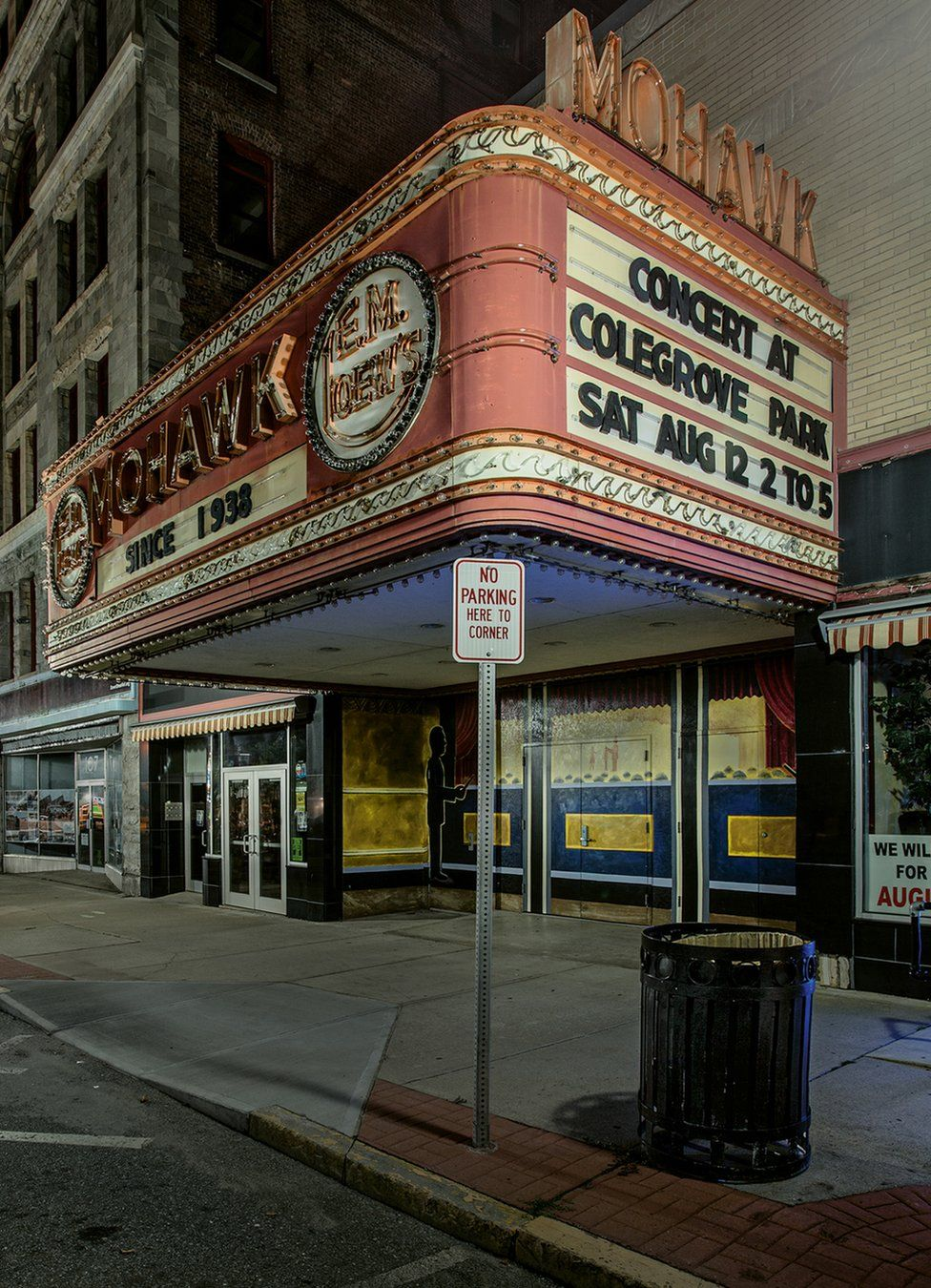 A night view of a closed old-fashioned concert venue