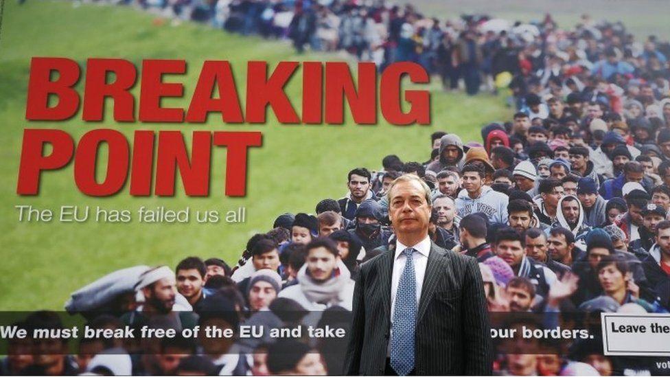 Breaking point poster and Nigel Farage
