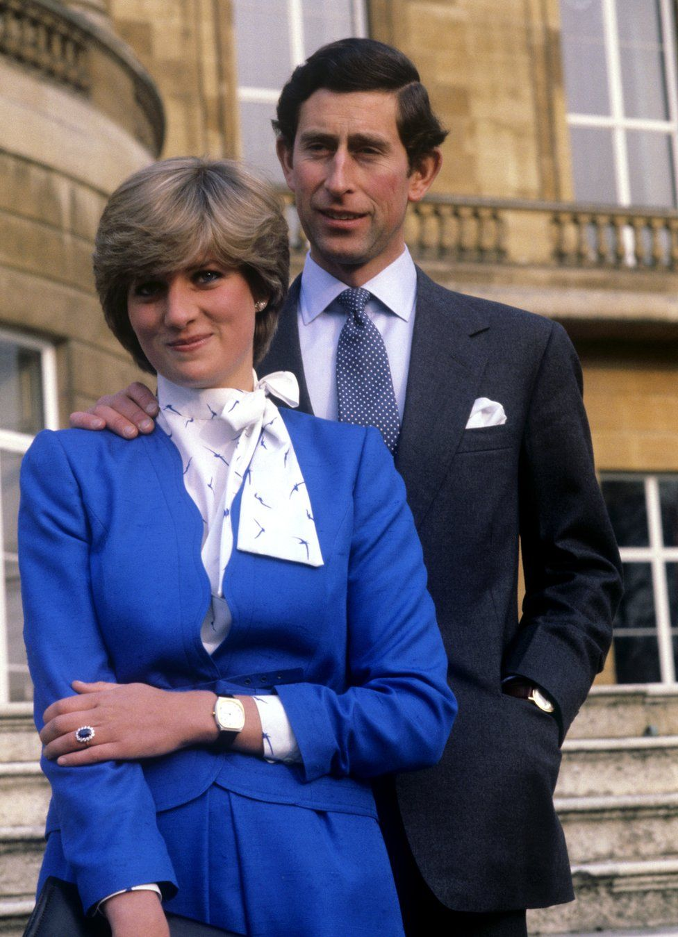 Charles and Lady Diana Spencer at Buckingham Palace after the announcement of their engagement.