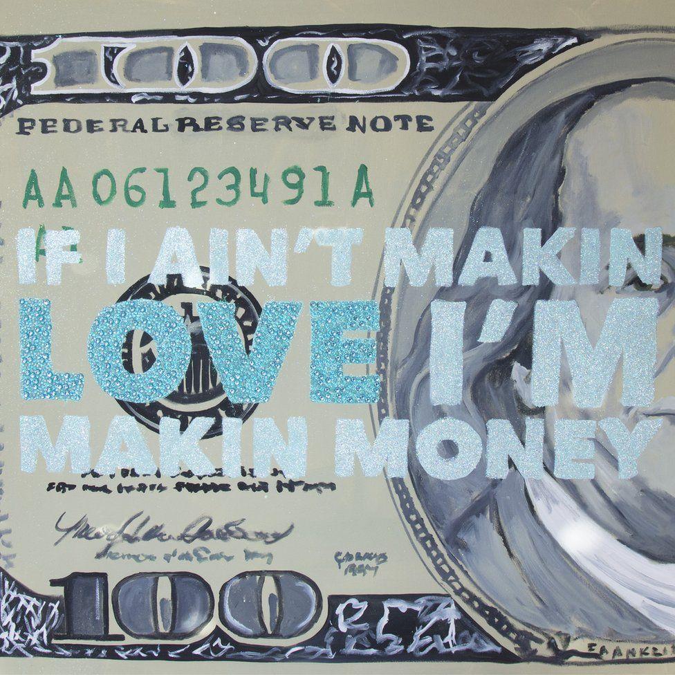 "Ashley Longshore painting with the logo ""If I ain't makin love I'm makin money"""