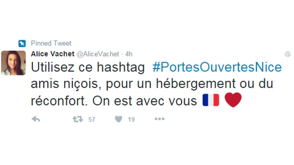 Use the hashtag #PortesOuvertesNice for a roof or consolation. We are with you, this user says
