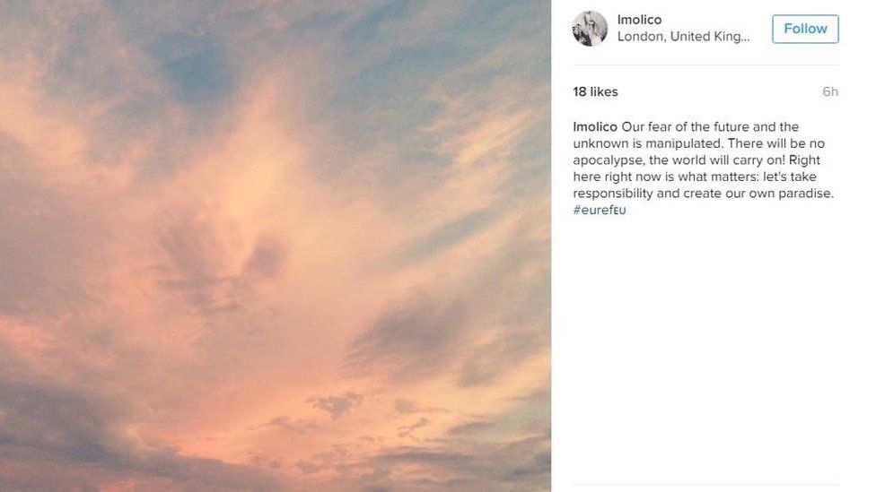 """An instagram post of a lovely sky and the words """"Our fear of the future and the unknown is manipulated. There will be no apocalypse, the world will carry on! Right here right now is what matters: let's take responsibility and create our own paradise. #euref🇪🇺"""""""