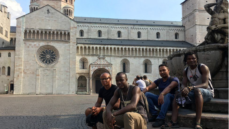 Four asylum seekers in Trento, northern Italy