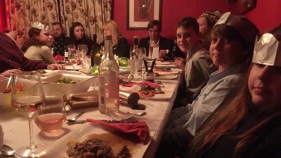 Diva Fanning's family at the table last Christmas