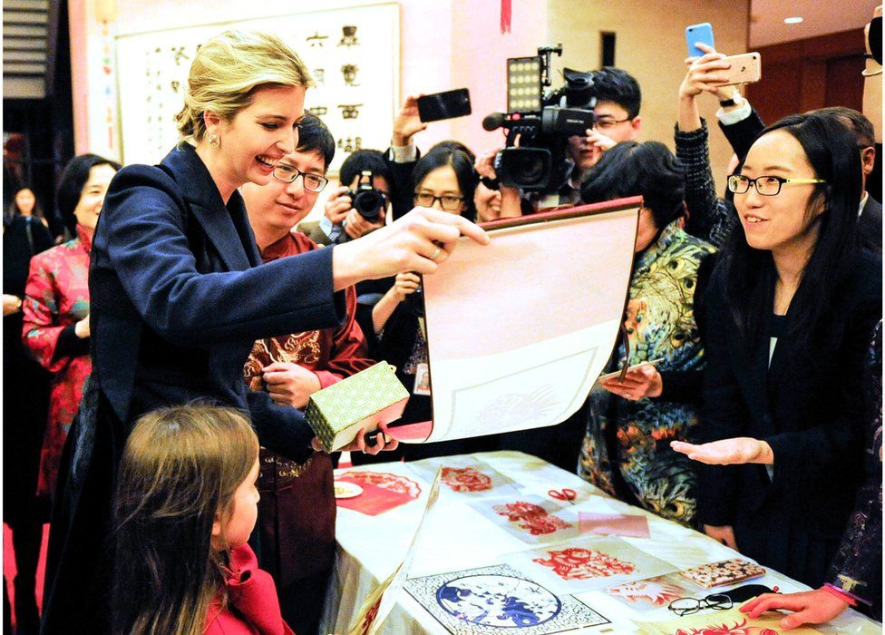 Ivanka Trump (left) attends the Chinese Embassy's New Year reception with her daughter (front left). Washington DC, USA, 1 February 2017.