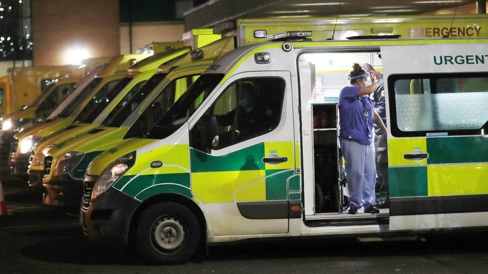 There were queues of ambulances outside Antrim Area Hospital on Tuesday night