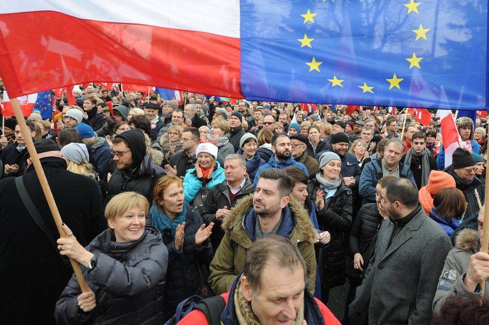 Protesters wave Polish and European Union flags during an anti government demonstration in Warsaw, Poland, Saturday, Dec. 19, 2015