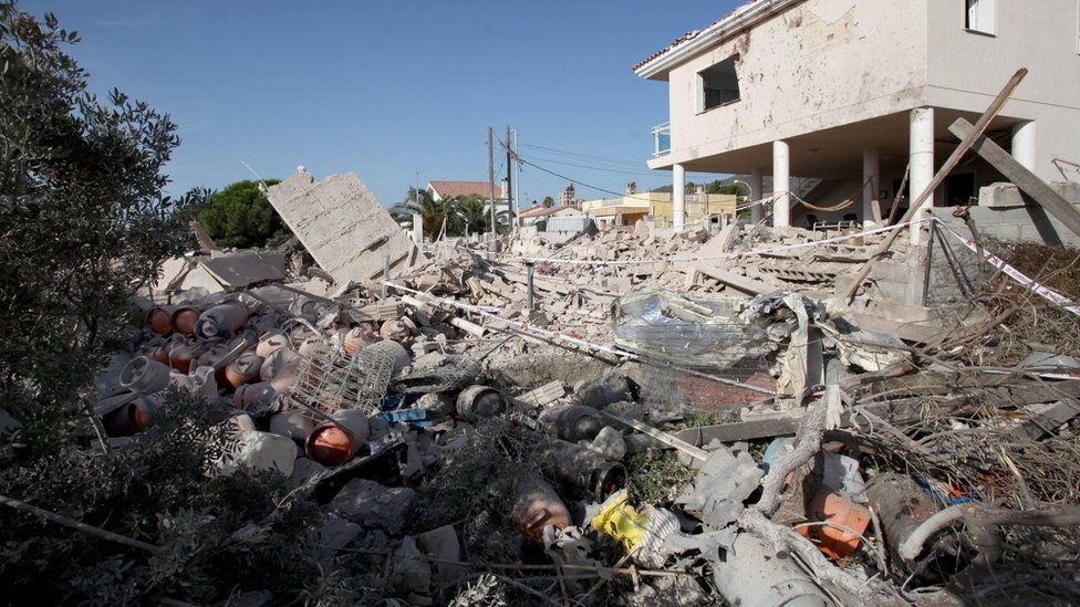 General view of the debris of a house after it collapsed last night due to a gas leak explosion in the village of Alcanar, Catalonia, northeastern Spain, 17 August 2017