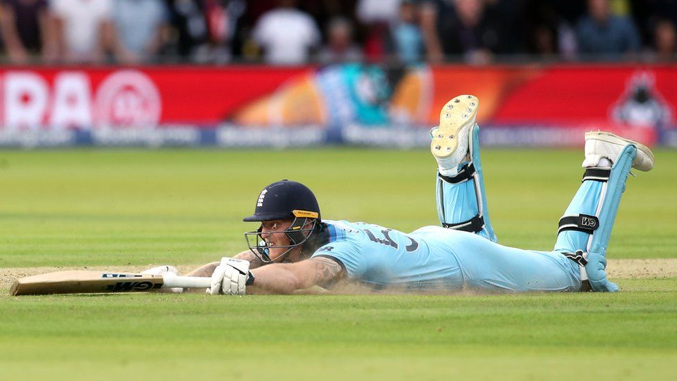England's Ben Stokes reacts after the ball hits his bat