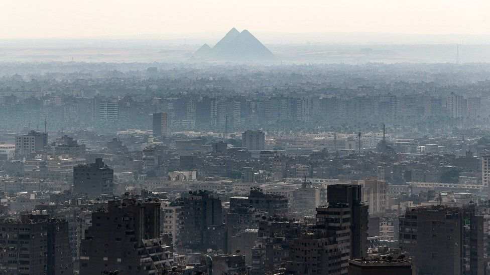 This picture taken on October 23, 2019 from the Cairo Tower in the centre of the Egyptian capital shows a view of the Giza Pyramids in Cairo's twin city of Giza.