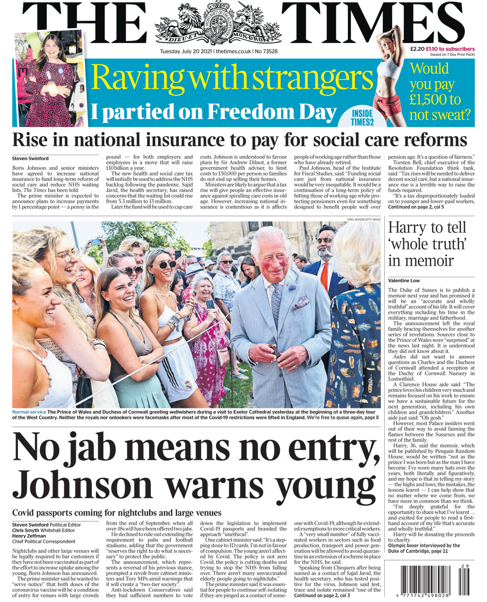 The Times front page 20/07/21