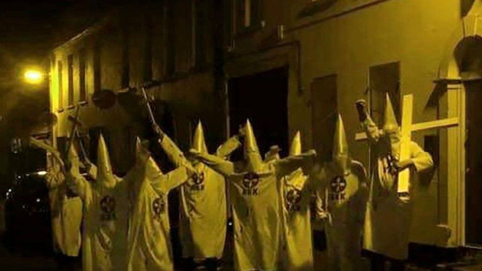 Group of people in KKK outfits in Newtownards
